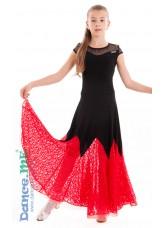 Платье детское ПС262-11 Dance Me, масло / гипюр, черный / красный