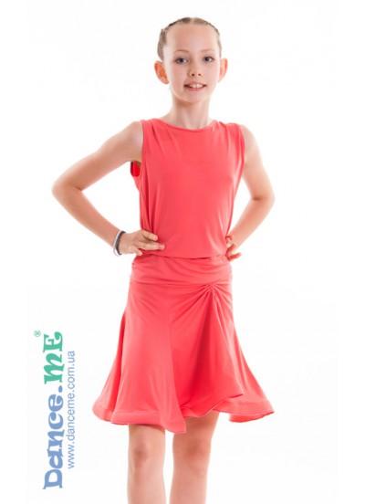 Dance Me Юбка для латины ЮЛ185 детская, масло, коралл