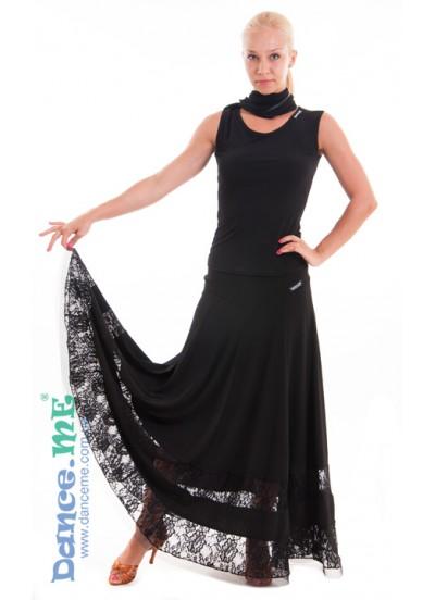 Dance Me Юбка для стандарта ЮС100-1-1Кри женская, масло / гипюр, черный