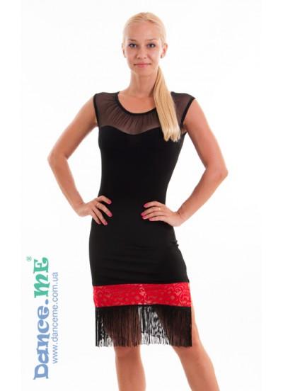 Dance Me Платье женское ПЛ220-11, масло / бахрома, черный / красный