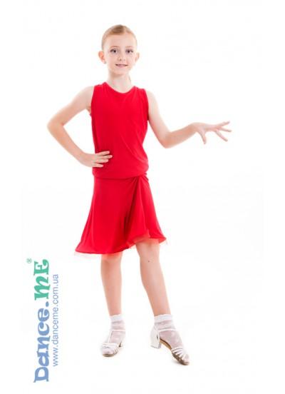 Dance Me Юбка для латины ЮЛ185 детская, масло, красный