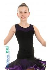 Dance Me Блуза детская БЛ335-5, масло / сетка, черный / фиолетовый