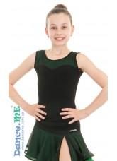 Dance Me Блуза детская БЛ335-5, масло / сетка, черный / изумруд