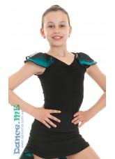 Dance Me Блуза детская БЛ337-5, масло / сетка, черный / бирюзовый