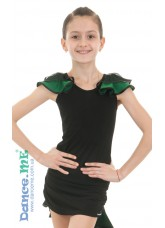 Dance Me Блуза детская БЛ337-5, масло / сетка, черный / изумруд