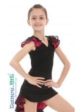 Dance Me Блуза детская БЛ337-5, масло / сетка, черный / розовый
