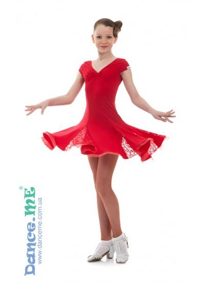 Dance ME Платье детское ПЛ182-КР-11, масло / гипюр, красный
