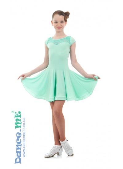 Детское платье для латины Dance Me PL334-11#, масло / гипюр, мята