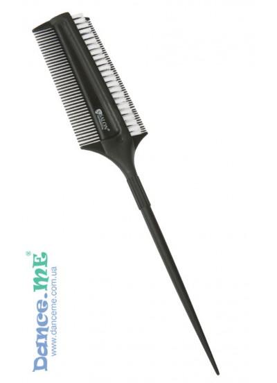 Черная расческа Salon с хвостиком и щетиной для начеса