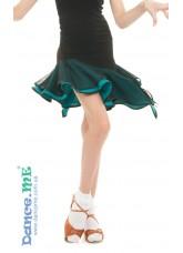Dance Me Юбка для латины ЮЛ359-5 детская, масло / сетка, черный / бирюзовый