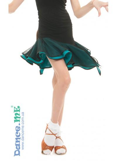 Детская юбка для латины Dance Me ЮЛ359-5 масло / сетка, черный / бирюзовый