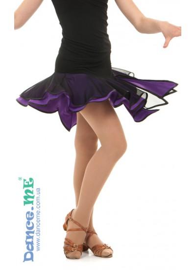 Детская юбка для латины Dance Me ЮЛ359-5 масло / сетка, черный / фиолетовый