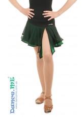 Dance Me Юбка для латины ЮЛ359-5 детская, масло / сетка, черный / изумруд