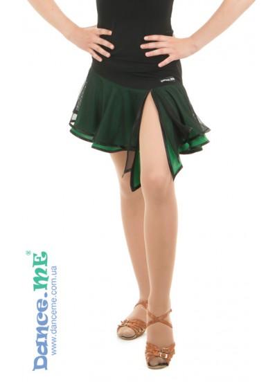 Детская юбка для латины Dance Me ЮЛ359-5 масло / сетка, черный / изумруд