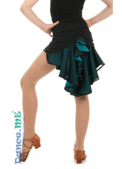 Dance Me Юбка для девочки ЮЛ48-5, масло / сетка, черный / бирюзовый