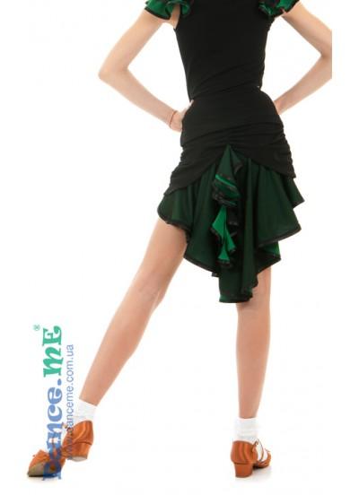 Dance Me Юбка для девочки ЮЛ48-5, масло / сетка, черный / изумруд