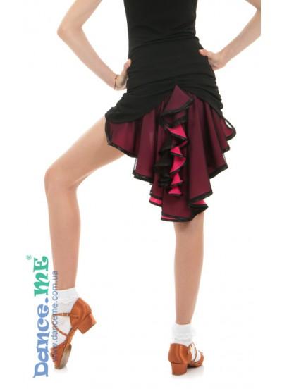 Dance Me Юбка для девочки ЮЛ48-5, масло / сетка, черный / розовый