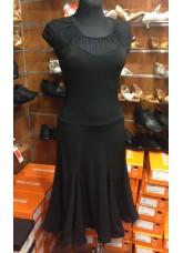 Женское платье для латины ПЛ422-6 Dance Me, Масло+сетка, Черный