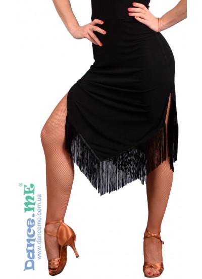 Юбка женская Латина ЮЛ259-14 Dance.me,  Масло+бахрома, Черный