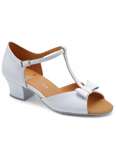Танцевальная обувь для девочек блок-каблук Минни-B, белый лак
