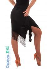 Юбка женская для латины ЮЛ357-14 Dance Me, масло / бахрома, черный