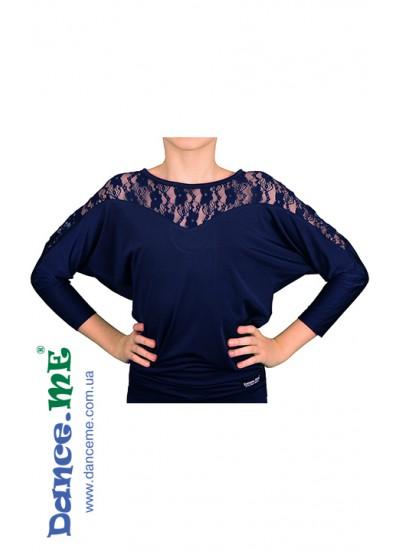 Dance Me Блуза детская БЛ153-1, кристал / синий гипюр