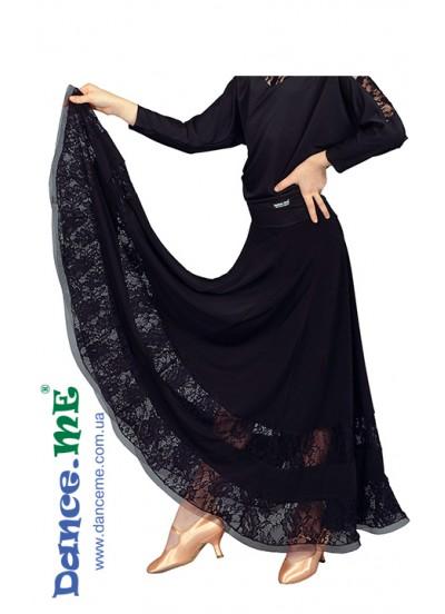 Dance Me Юбка для девочки ЮС100-1-1Кри, масло / гипюр, черный