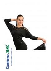 Dance Me Блуза женская БЛ153-1, кристал / черный гипюр