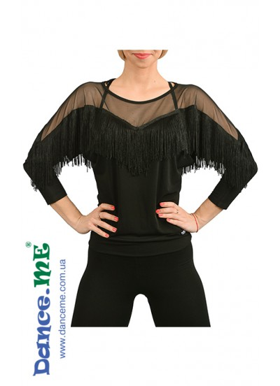 Dance Me Блуза женская БЛ218, масло / бахрома, черный