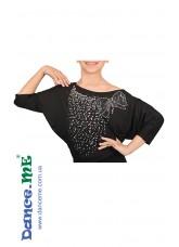 Dance Me Блуза детская БЛ241, вискоза / бусы белые, черный