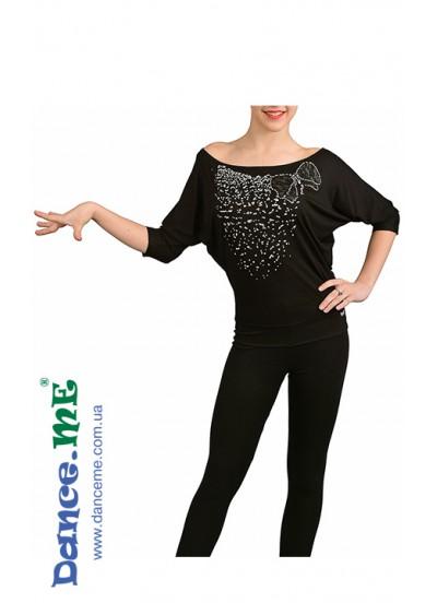 Dance Me Блуза женская БЛ241, вискоза / бусы белые, черный