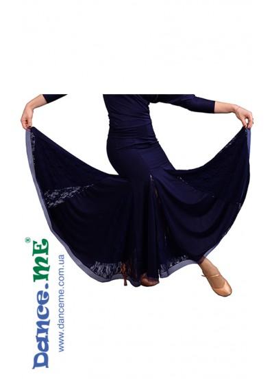 Dance Me Юбка для стандарта ЮС157-Кри-1, кристал / гипюр, синий