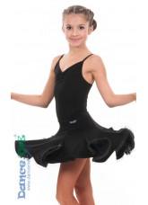 Юбка детская для латины ЮЛ76-11-14 Dance.me, Масло+гипюр, Черный