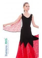 Dance Me Блуза детская БЛ293-11, масло / гипюр, черный / красный