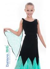Dance Me Блуза детская БЛ293-11, масло / гипюр, черный / мятный