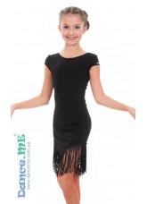 Dance ME Платье детское ПЛ260, масло / бахрома, черный