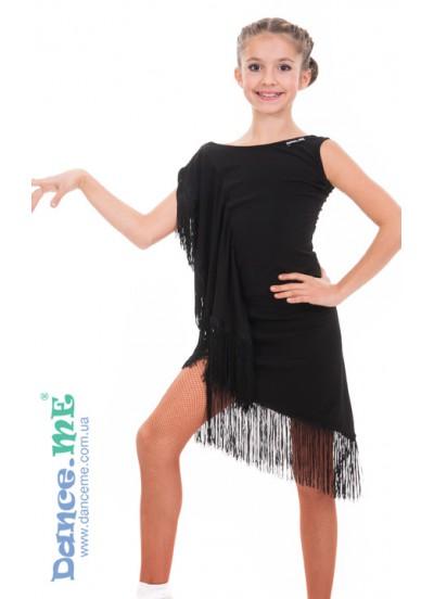 Детское платье для латины Dance Me ПЛ305, масло / бахрома, цвет черный