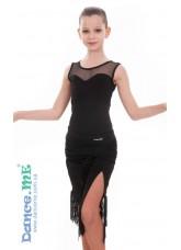 Детская юбка для латины Dance Me ЮЛ324-14, Масло+сетка+бахрома, Черный