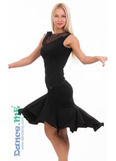 Женская юбка для латины Dance Me ЮЛ185-7, ткань масло, черный цвет