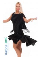 Dance Me Юбка для латины ЮЛ213 женская, масло / бахрома, черный