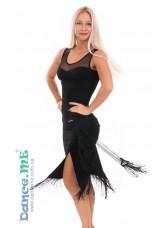 Dance Me Юбка для латины ЮЛ324-14 женская, масло / бахрома, черный