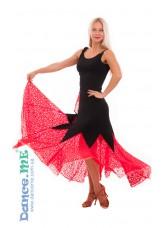 Dance Me Юбка для стандарта ЮС264-Кри11 женская, масло / гипюр, черный / красный