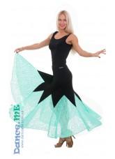 Dance Me Юбка для стандарта ЮС264-Кри11 женская, масло / гипюр, черный / мята