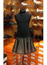 Платье Латина ПЛ208-11 Dance.me, Украина, Масло+сетка+гипюр, Черный/Телесный