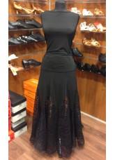 Юбка женская для стандарта ЮС264-Кри11 Dance Me, масло / гипюр, черный