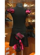 Юбка детская Латина ЮЛ94-5 Dance.me,  Масло+сетка, Черный/Розовый
