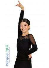 Dance Me Блуза детская БЛ153, масло / сетка черный