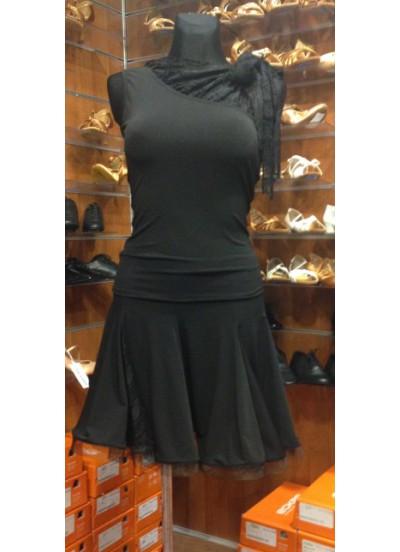 Блуза женская БЛ249-11 Dance Me , Масло+гипюр+бахрома, черный