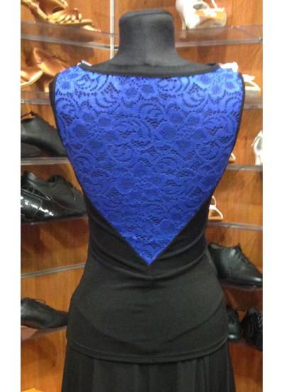 Женская блуза для бально-спортивного танца Dance Me БЛ398-8-11, черный / электрик