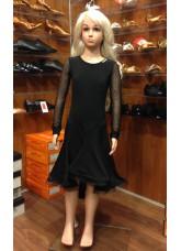 Платье Латина ПЛ204-6 детское Dance.me, Украина, Масло+сетка, Черный